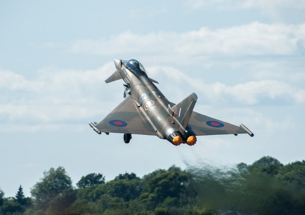 Camo Typhoon takeoff Jez B via Foter.com / CC BY-NC-ND Original image URL: https://www.flickr.com/photos/jez_b/34471582666/