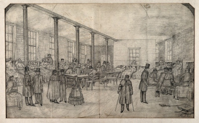 Hospital ward in Liverpool workhouse; requisitioned for wounded soldiers. Pencil drawing. Image: Wellcome Collection CC BY