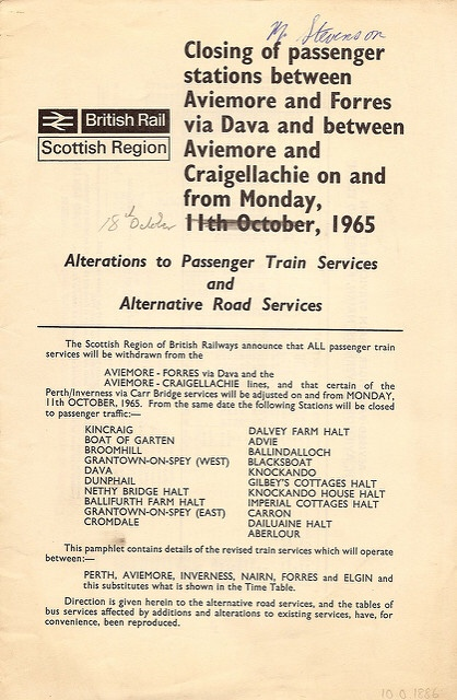 Closure of railway between Aviemore & Forres (via Dava) and Aviemore & Craigellachie on 18 October 1965, issued by British Rail