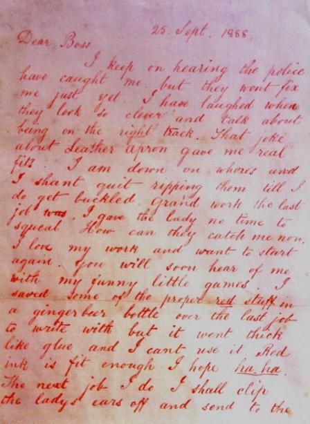 'Dear Boss' letter - 'Jack the Ripper' - Public domain