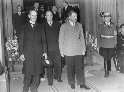 British Prime Minister Neville Chamberlain (left) and German Chancellor Adolf Hitler leave their meeting at Bad Godesberg, 23rd September 1938 - Courtesy: Bundesarchiv, Bild 183-H12751/CC BY-SA 3.0