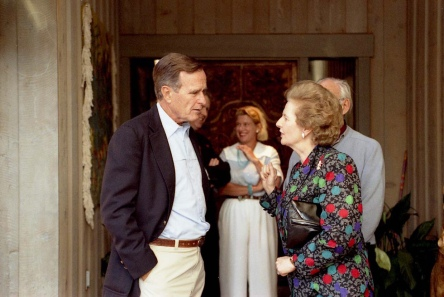 With President George H.W. Bush, in Aspen, Colorado, 1990 - Taken by the Presidential Photographer - Public domain