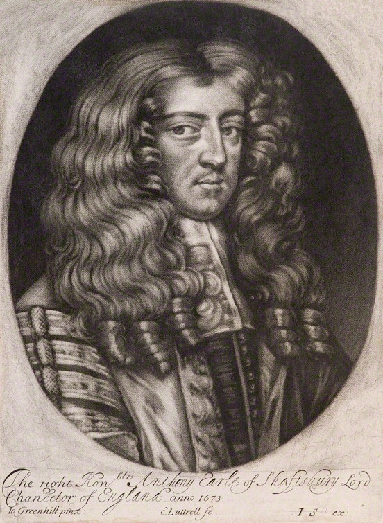 NPG D11961; Anthony Ashley-Cooper, 1st Earl of Shaftesbury by Edward Lutterell or Luttrell, published by John Smith, after John Greenhill